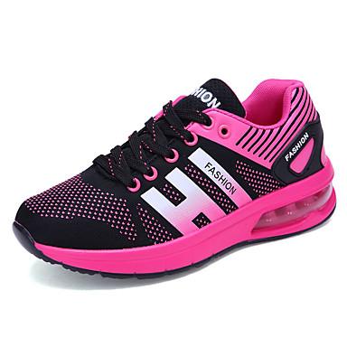Mulheres Sapatos Couro Ecológico Primavera Outono Conforto Tênis Caminhada Sem Salto Cadarço para Casual Preto Vermelho Azul