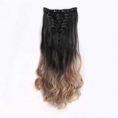 7pcs / sæt klip i om dip dye ombre to tone syntetiske lige hår extension hairpieces, 1bt16 blacktgray 130 g, 56cm