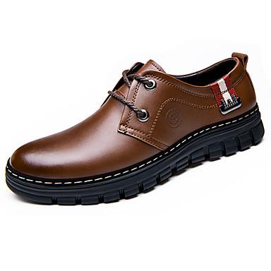 Homens Sapatos Pele Primavera Outono Inverno Conforto Oxfords Caminhada Sem Salto Cadarço para Escritório e Carreira Festas & Noite Preto