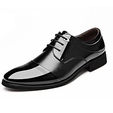 Miesten kengät Nahka Kevät Syksy muodollinen Kengät Comfort Oxford-kengät Kävely Pistekuvio Ruutukuvio Solmittavat varten Kausaliteetti
