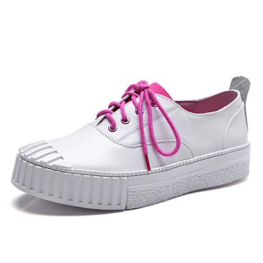 Sneakers-LæderDame-Sort Hvid-Udendørs Formelt Fritid-Flad hæl