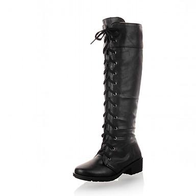 Mulheres Sapatos Sintético Couro Envernizado Courino Inverno Outono Botas Cowboy/Country Coturnos Saltos Caminhada Salto Baixo Cadarço