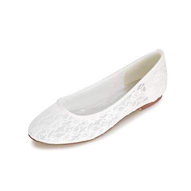Mulheres Sapatos Sintético Primavera / Verão Conforto Rasos Sem Salto Rendado Preto / Casamento / Festas & Noite
