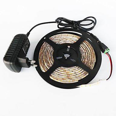 billige LED Strip Lamper-zdm® vanntett 5m 300x3528 hvitt / varmt hvitt lys ledet eu / us / uk ac110-240v til dc12v2a transformer