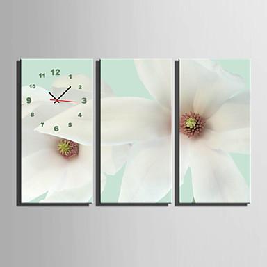 Modern/Hedendaags Bloemen/Botanische Wandklok,Rechthoekig Canvas 30 x 60cm(12inchx24inch)x3pcs/ 40 x 80cm(16inchx32inch)x3pcs Voor Binnen