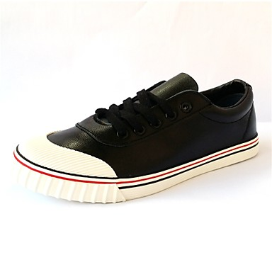 Herre-PU-Flat hælFlate sko-Fritid-Svart Hvit