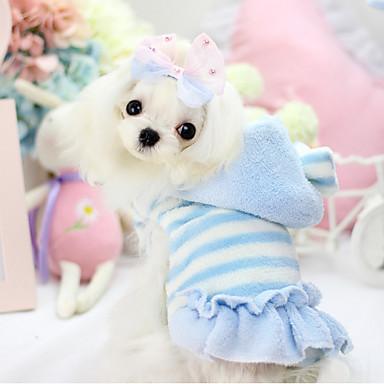 Hond Hoodies / Jurken Hondenkleding Gestreept Blauw / Roze Fleece / Katoen Kostuum Voor huisdieren Dames Houd Warm