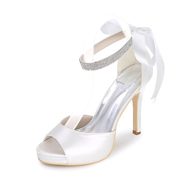 cheap Featured Deals-Women's Satin Spring / Summer Basic Pump Wedding Shoes Stiletto Heel Open Toe Rhinestone / Hollow-out Blue / Champagne / Ivory / Party & Evening