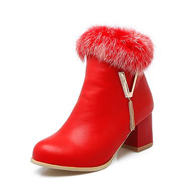 Støvler-Kunstlæder Pels-Modestøvler-Dame-Sort Rød Hvid-Formelt-Tyk hæl