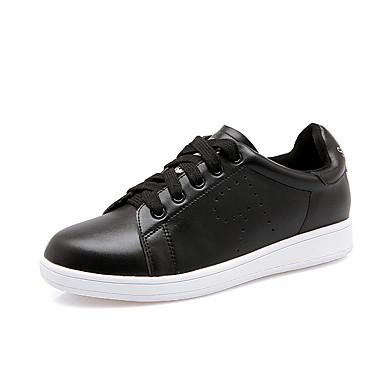 Sneakers-Læder-Lukket tå / Komfort / Rund tå-Dame-Sort / Hvid-Hverdag-Platå