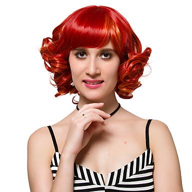 Synthetische Perücken Locken Synthetische Haare Rot Perücke Damen Kurz Kappenlos Rot