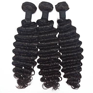 Cabelo Humano Ondulado Cabelo Brasileiro Onda Profunda 6 meses 3 Peças tece cabelo