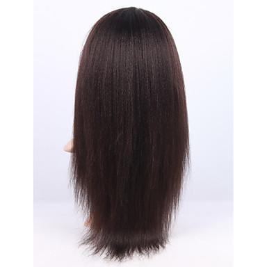 Menneskehår Blonde Front Paryk Lige Kinky Glat 130% Massefylde 100 % håndbundet Afro-amerikansk paryk Natural Hairline Kort Medium Lang