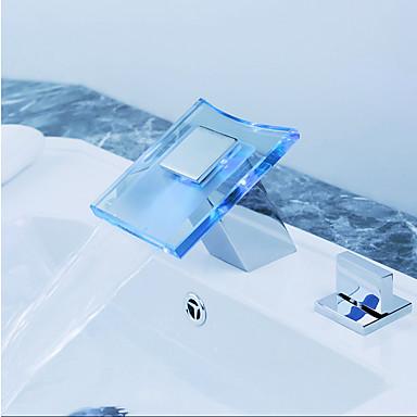 Baño grifo del fregadero - Separado / LED Cromo Muy Difundido Dos asas de tres agujerosBath Taps