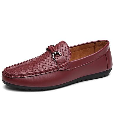 Herre Flate sko Komfort PU Sommer Avslappet Gange Komfort Flat hæl Hvit Svart Rød Blå Flat
