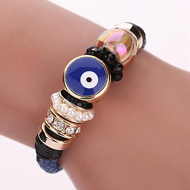 Dame Læder Armbånd Wrap Armbånd Boheme Stil Yndig Perler Mode Læder Legering Geometrisk form Sort Blå Smykker For Fest Daglig Afslappet1