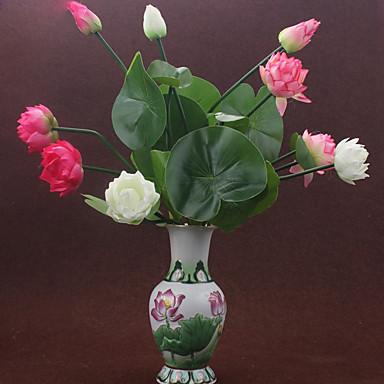 1 Afdeling Polyester Plastik Lotus Bordblomst Kunstige blomster 18.1inch/46CM