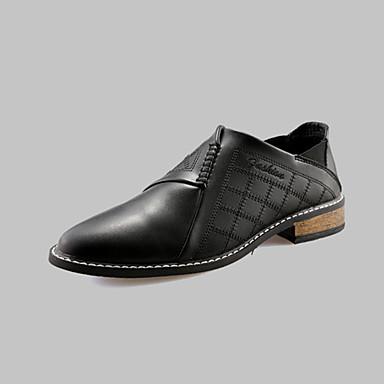 Heren Loafers & Slip-Ons Comfortabel PU Lente Herfst Causaal Wandelen Comfortabel Kanten stiksel Platte hak Zwart Bruin Rood Plat