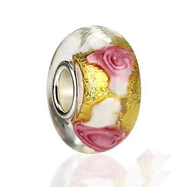 Mulheres Amuletos Rose Flor Forma oval Vidro Europeu Com Miçangas Jóias Para Diário