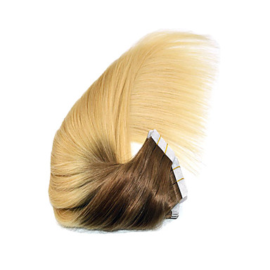 PANSY Adhesivo Extensiones de cabello humano Recto Ombre Cabello humano Medium Brown / Bleach Blonde