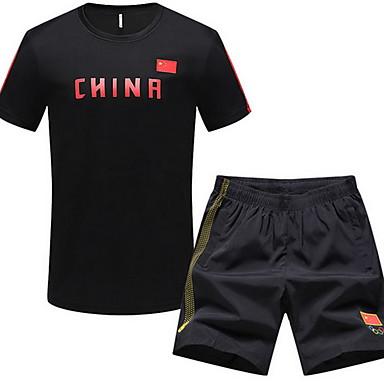 Heren Hardloopshirt met shorts Korte mouw Ademend Running T-Shirt + Shorts Pakken voor Training&Fitness Recreatiesport Badminton