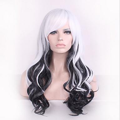 Pelucas sintéticas / Pelucas de Broma Ondulado Grande Pelo sintético Negro Peluca Mujer Sin Tapa