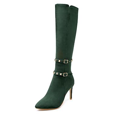 Dames Schoenen Kunstleer Winter Herfst Modieuze laarzen Laarzen Naaldhak 35,56 tot 40,64 cm Knielaarzen Siernagel voor Causaal ulko-