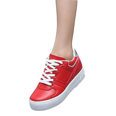 Feminino-Tênis-Conforto-Rasteiro-Preto Vermelho Branco-Couro Ecológico-Casual