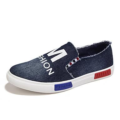 Heren Schoenen Canvas Denim Lente Zomer Herfst Loafers & Slip-Ons Wandelen Voor Causaal Donkerblauw Blauw