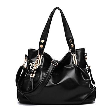 Women's Bags PU Tote / Shoulder Bag Rivet Brown / Pink / Royal Blue
