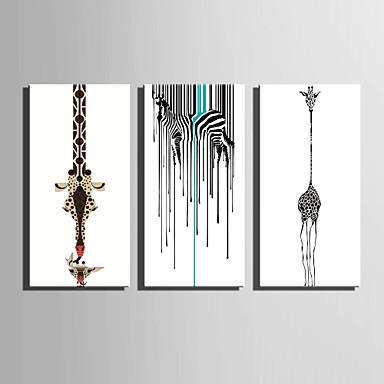Canvas Set Dyr Europeisk Stil,Tre Paneler Lerret Vertikal Print Art Wall Decor For Hjem Dekor