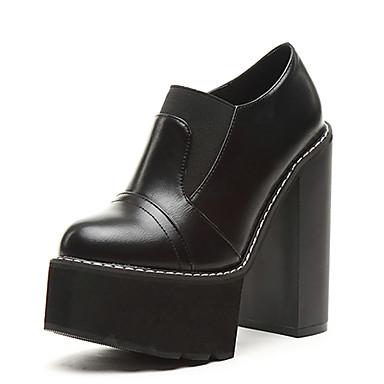 Bootsit-Leveä korko-Naisten-PU-Musta Ruskea-Rento