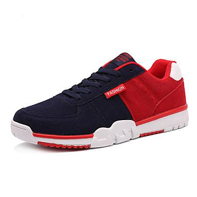 Sneakers-PU-Komfort-Herre-Sort Blå Rød Marine-Fritid Sport-Flad hæl