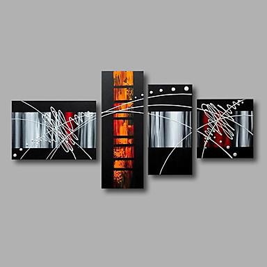 Håndmalte Abstrakt olje malerier,Moderne Fire Paneler Lerret Hang malte oljemaleri For Hjem Dekor