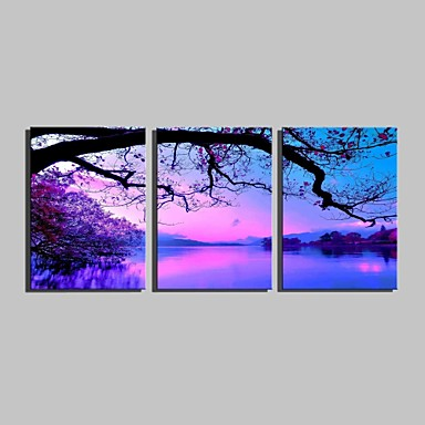 Stretched Canvas Print Landscape Three Panels Vertical Print Wall Decor Home Decoration
