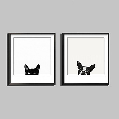 Zwierzęcy Çerçeveli Tuval / Çerçeve Seti Duvar Sanatı,PVC Siyah Keçe Dahil Frame ile Duvar Sanatı