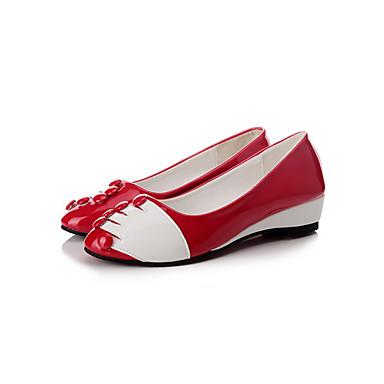 Sko-Lær-Flat hæl-Flate sko-Flate sko-Friluft / Fritid-Svart / Rød