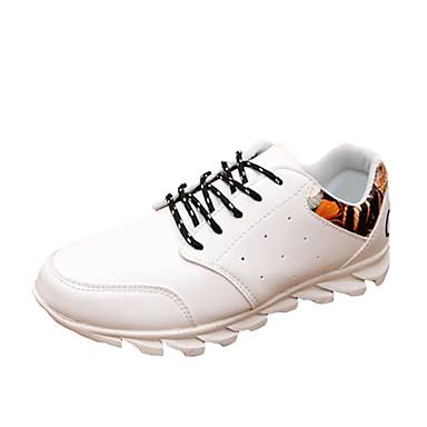 Herren-Sneaker-Lässig-Kunststoff PU-Flacher Absatz-Komfort-Schwarz Weiß