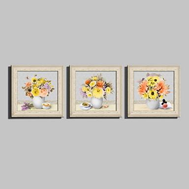 A fleurs/Botanique / Nature morte Toile Encadrée / Set de Cadres Wall Art,PVC Beige Sans Passepartout Avec Cadre Wall Art