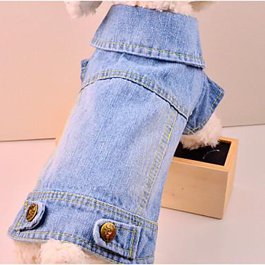 犬 デニムジャケット 犬用ウェア カウボーイ ファッション ソリッド ブルー コスチューム ペット用