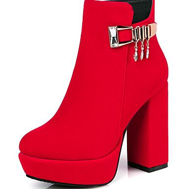 女性-アウトドア オフィス カジュアル-レザーレット-チャンキーヒール-ファッションブーツ-ブーツ-ブラック ブルー レッド