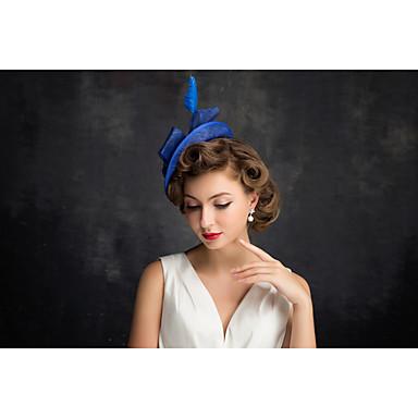 女性用 フラックス 羽毛 ネット かぶと-パーティー ヘッドドレス 1個
