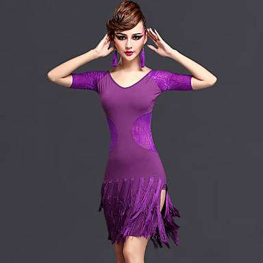 Dança Latina Vestidos Mulheres Actuação Raiom Náilon Chinês Tule Renda 2 Peças Manga Curta Natural Vestido Calções