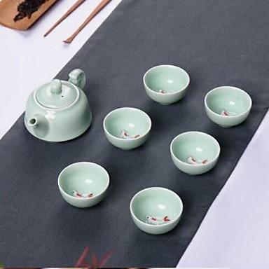 Anaglyphen Karpfen Teekanne Teetasse Geschenk Tee-Set