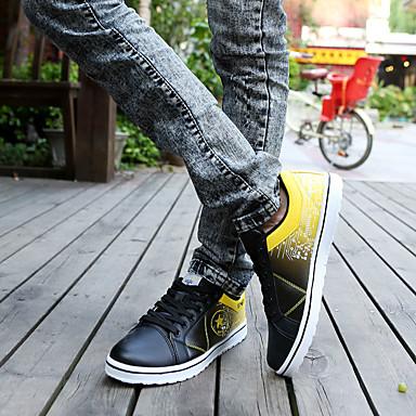 Heren Sneakers Lente Herfst Comfortabel PU Casual Platte hak Veters Blauw Geel Rood Wit