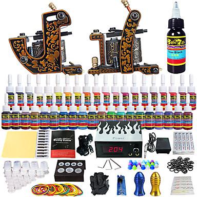 Starter Kit Tattoo 2 x fémötvözet tetoválógép kontúrhoz és satírhoz Tetováló gép LCD tápegység 40 × 5 ml Tattoo Ink 2 x alumínium markolat