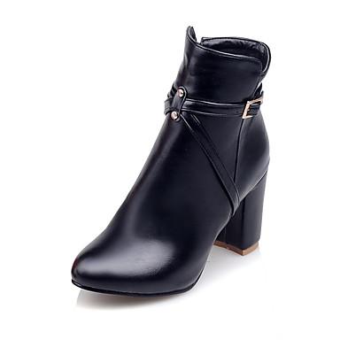 Støvler-Kunstlæder-Hæle / Ankelstøvler / Modestøvler-Dame-Sort / Rød / Hvid-Udendørs / Kontor / Hverdag-Tyk hæl
