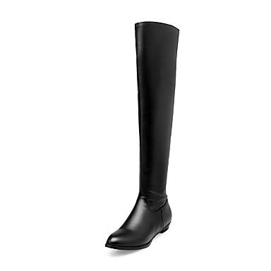 Støvler-Kunstlæder-Modestøvler-Dame-Sort Brun Beige-Udendørs Fritid Fest/aften-Lav hæl