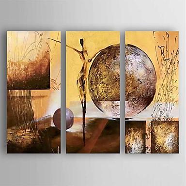 Håndmalte Abstrakt Vannrett, Moderne Lerret Hang malte oljemaleri Hjem Dekor Tre Paneler