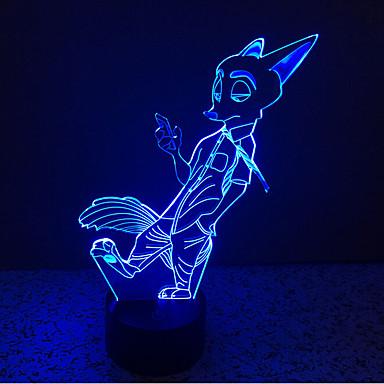 fox touch dimmer 3d ledet natt lys 7colorful dekorasjon atmosfære lampe nyhet belysning lys